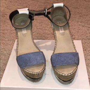 See by Chloe Denim and Leather Wedges